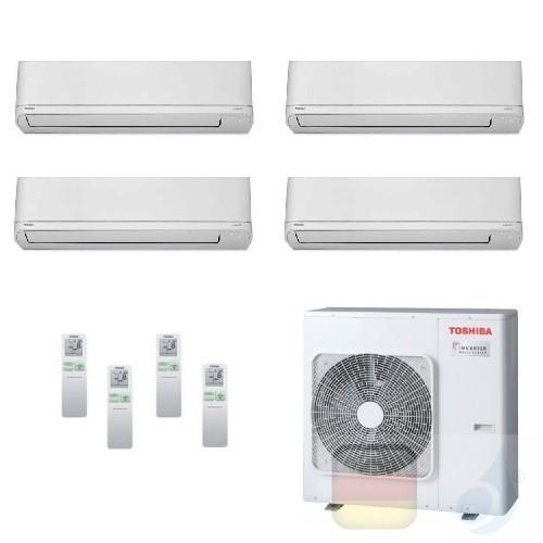 Toshiba Klimaanlagen Quadri Split Wand 9000+9000+9000+21000 Btu + RAS-4M27U2AVG-E R-32 Shorai WiFi Opt A++ A+ 2.5+2.5+2.5+6.1...