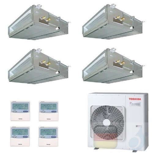 Toshiba Klimaanlagen Quadri Split Kanalgerät Slim 9000+9000+9000+12000 Btu + RAS-4M27U2AVG-E R-32 A++ A+ 2.5+2.5+2.5+3.5 kW U...