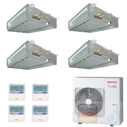 Toshiba Klimaanlagen Quadri Split Kanalgerät Slim 9000+9000+9000+21000 Btu + RAS-4M27U2AVG-E R-32 A++ A+ 2.5+2.5+2.5+6.1 kW U...