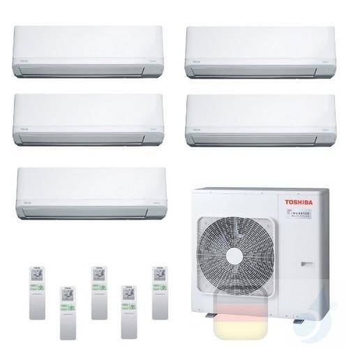 Toshiba Klimaanlagen Penta Split Wand 9+9+9+9+9 Btu + RAS-5M34U2AVG-E R-32 Daiseikai Light A++ A+ 2.5+2.5+2.5+2.5+2.5 kW J2KV...