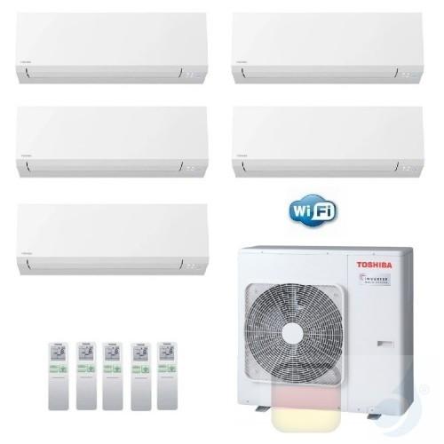 Toshiba Klimaanlagen Penta Split Wand 5+5+5+5+24 Btu + RAS-5M34U2AVG-E R-32 Shorai Edge Wifi A++ A+ 1.5+1.5+1.5+1.5+7.1 kW N4...
