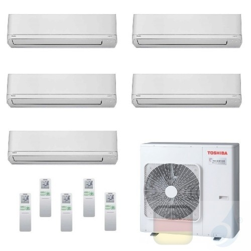 Toshiba Klimaanlagen Penta Split Wand 7+7+7+7+24 Btu + RAS-5M34U2AVG-E R-32 Shorai WiFi Opt A++ A+ 2.0+2.0+2.0+2.0+7.1 kW PKV...