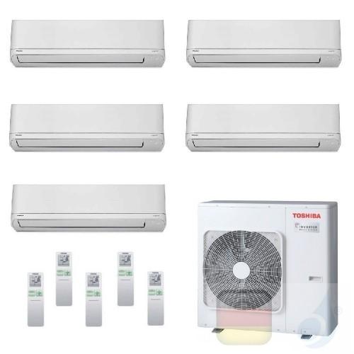 Toshiba Klimaanlagen Penta Split Wand 9+9+9+9+12 Btu + RAS-5M34U2AVG-E R-32 Shorai WiFi Opt A++ A+ 2.5+2.5+2.5+2.5+3.5 kW PKV...