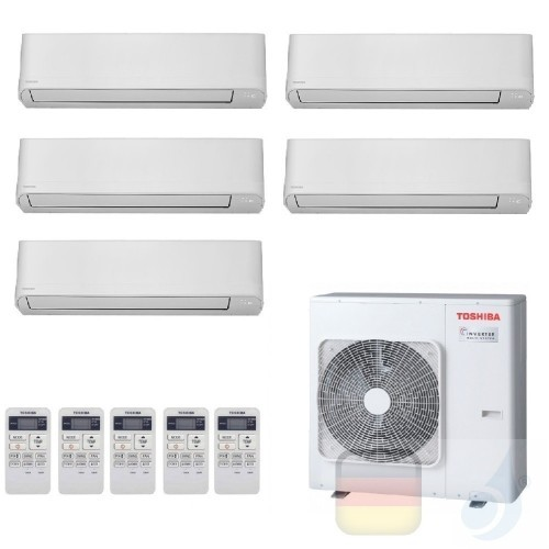 Toshiba Klimaanlagen Penta Split Wand 7+7+7+7+9 Btu + RAS-5M34U2AVG-E R-32 Seiya WiFi Opt A++ A+ 2.0+2.0+2.0+2.0+2.5 kW J2KVG...