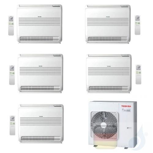 Toshiba Klimaanlagen Penta Split Fußboden Console 12+12+12+12+12 Btu + RAS-5M34U2AVG-E R-32 A++ A+ 3.5+3.5+3.5+3.5+3.5 kW J2F...