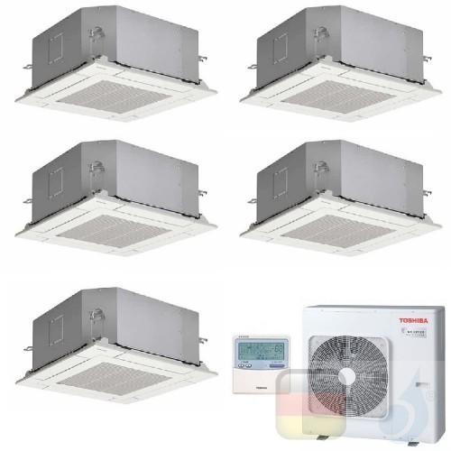Toshiba Klimaanlagen Penta Split Kassettengerät 60x60 9+9+9+9+12 Btu + RAS-5M34U2AVG-E R-32 A++ A+ 2.5+2.5+2.5+2.5+3.5 kW U2M...
