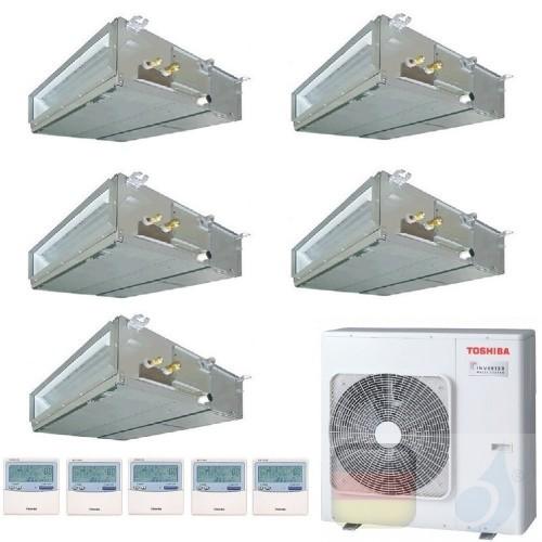 Toshiba Klimaanlagen Penta Split Kanalgerät Slim 7+7+7+7+9 Btu + RAS-5M34U2AVG-E R-32 A++ A+ 2.0+2.0+2.0+2.0+2.5 kW U2DVG_7+7...