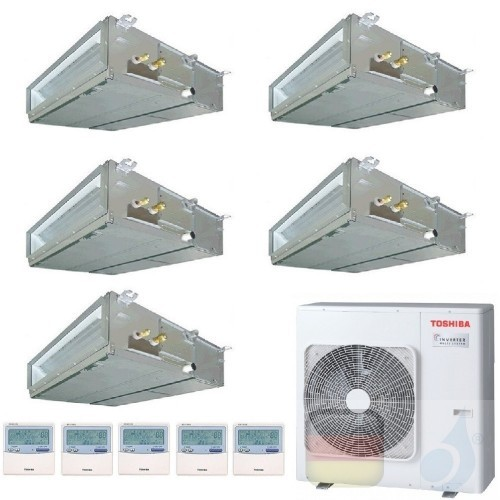 Toshiba Klimaanlagen Penta Split Kanalgerät Slim 9+9+9+9+21 Btu + RAS-5M34U2AVG-E R-32 A++ A+ 2.5+2.5+2.5+2.5+6.1 kW U2DVG_9+...