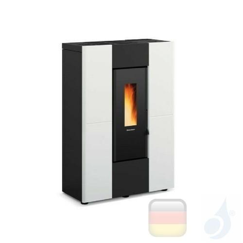Nordica Extraflame Pelletöfen serie Marilena Plus 8.0 kW metal Weiß mit Fernbedienung und wöchentlichem Chronothermostat A+ N...