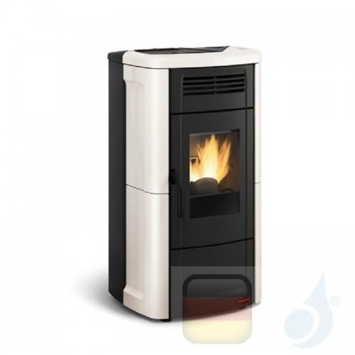 Nordica Extraflame Pelletöfen serie Novella Evo 10.2 kW keramik Elfenbein 1280401 mit Fernbedienung und Chronothermostat A+ N...