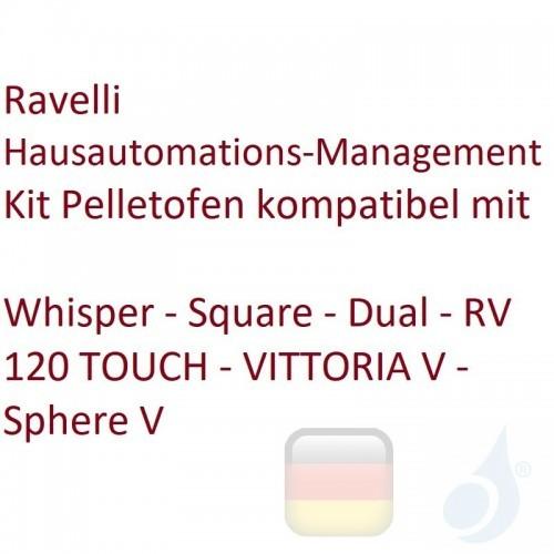 Ravelli Hausautomations-Management-Kit Pelletofen kompatibel mit Whisper - Square - Dual - RV 120 TOUCH - VITTORIA V - Sphere...