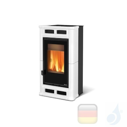 La Nordica Holzöfen Flò 8.3 kW Keramic Weiß serie Top Design 7114500 A+ Extraflame Nord-Extra-7114500