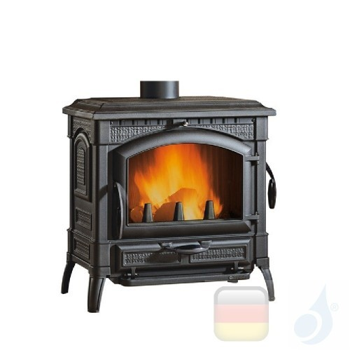 La Nordica Holzöfen Isotta Evo 11.9 kW Gusseisen Schwarz serie Emailliertes Gusseisen 7119101 A+ Extraflame Nord-Extra-7119101