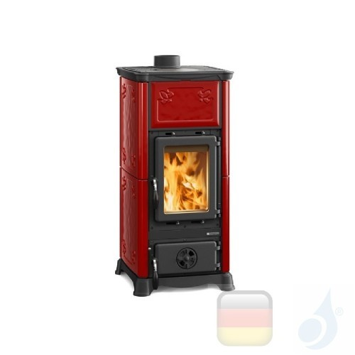 La Nordica Holzöfen Emiliana 6.5 kW Gusseisen Bordeaux serie Armony 7112600 A+ Extraflame Nord-Extra-7112600