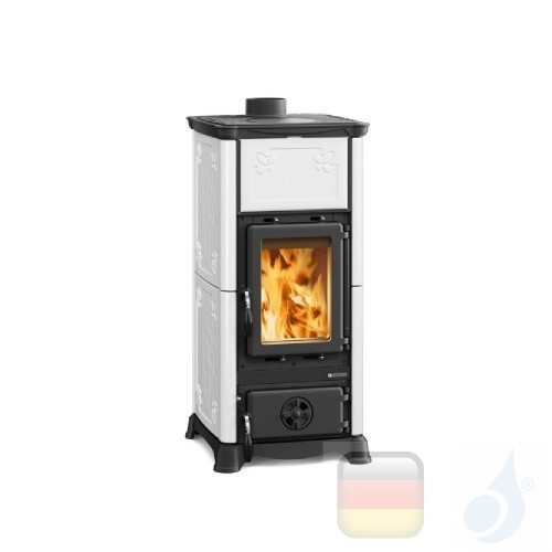 La Nordica Holzöfen Emiliana 6.5 kW Gusseisen Weiß serie Armony 7112603 A+ Extraflame Nord-Extra-7112603