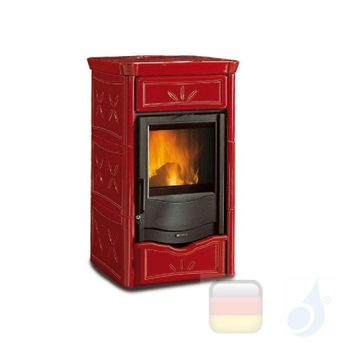 La Nordica Holzöfen Nicoletta 8.0 kW Gusseisen Bordeaux serie Armony 7116150 A+ Extraflame Nord-Extra-7116150