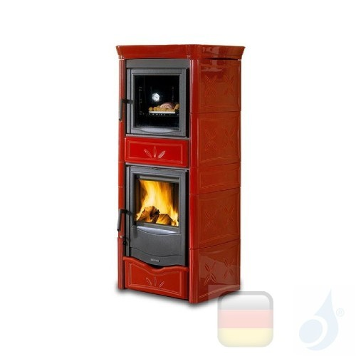 La Nordica Holzöfen mit Backofen Nicoletta Forno Evo 9.1 kW Gusseisen Bordeaux serie Armony 7116380 A+ Extraflame Nord-Extra-...