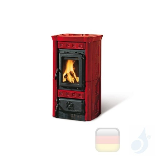 La Nordica Holzöfen Gaia 6.0 kW Gusseisen Bordeaux serie Armony 7116200 A+ Extraflame Nord-Extra-7116200