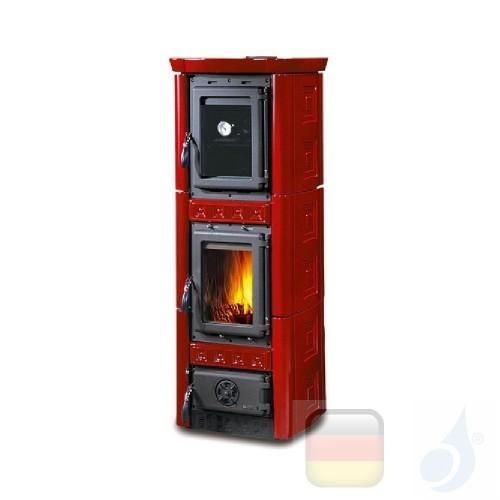 La Nordica Holzöfen mit Backofen Gaia Forno 6.0 kW Gusseisen Bordeaux serie Armony 7116400 A+ Extraflame Nord-Extra-7116400