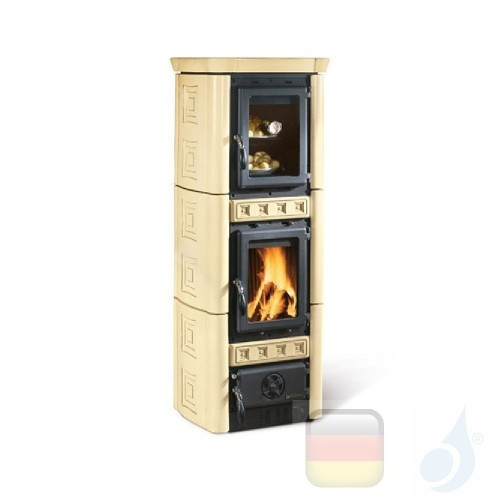 La Nordica Holzöfen mit Backofen Gaia Forno 6.0 kW Gusseisen Pergamena serie Armony 7116408 A+ Extraflame Nord-Extra-7116408