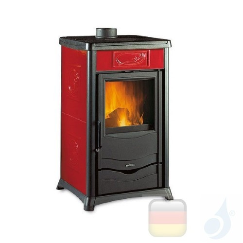 La Nordica Holzöfen Rossella Plus 8.0 kW Gusseisen Bordeaux serie Rossella 7112260 A+ Extraflame Nord-Extra-7112260