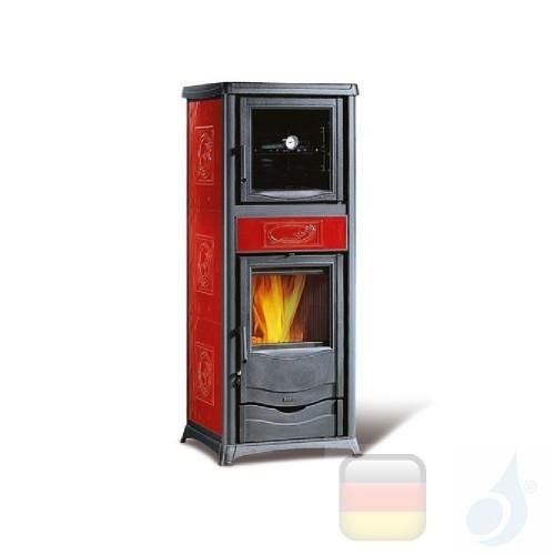 La Nordica Holzöfen mit Backofen Rossella Plus Forno Evo 9.1 kW Gusseisen Bordeaux serie Rossella 7112380 A+ Extraflame Nord-...