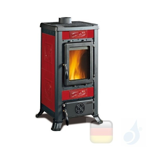 La Nordica Holzöfen Fulvia 6.0 kW Gusseisen Bordeaux serie Fulvia 7111450 A+ Extraflame Nord-Extra-7111450