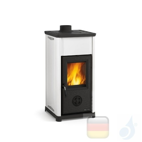 La Nordica Holzöfen Tea 6.6 kW Keramic Weiß serie Bruciatutto 7111810 A+ Extraflame Nord-Extra-7111810