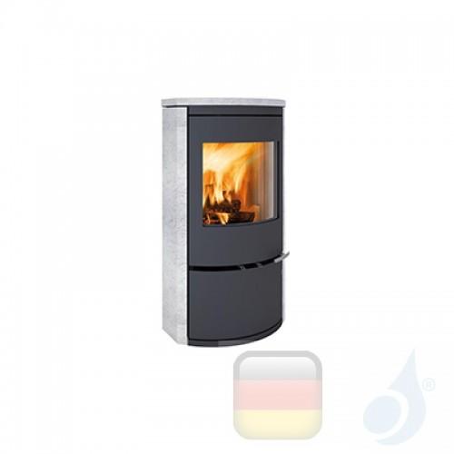 Ravelli Holzofen CALLIOPE STONE 8 kW Beschichtungstyp Stein A+ mit Brennholz Schublade enthalten Ravelli-L004GC07-BLK+Vano-L