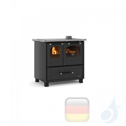 La Nordica Küchenofen Family 4.5 7.5 kW Stahl Anthrazit serie Scheitholzherd 7014001 A+ Extraflame Nord-Extra-7014001