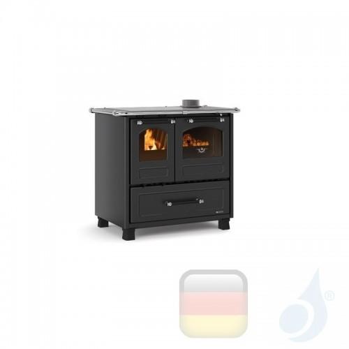 La Nordica Küchenofen Family 4.5 7.5 kW Stahl Anthrazit serie Scheitholzherd 7014001 A+ Extraflame Nord-Extra-7014001