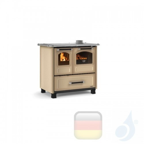 La Nordica Küchenofen Family 4.5 7.5 kW Stahl Cappuccino serie Scheitholzherd 7014002 A+ Extraflame Nord-Extra-7014002
