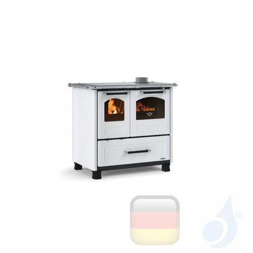 La Nordica Küchenofen Family 4.5 7.5 kW Stahl Weiß serie Scheitholzherd 7014003 A+ Extraflame Nord-Extra-7014003