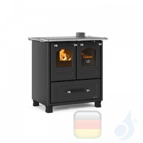 La Nordica Küchenofen Family 3.5 6.5 kW Stahl Anthrazit serie Scheitholzherd 7013001 A+ Extraflame Nord-Extra-7013001