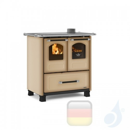 La Nordica Küchenofen Family 3.5 6.5 kW Stahl Cappuccino serie Scheitholzherd 7013003 A+ Extraflame Nord-Extra-7013003