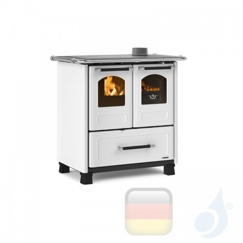 La Nordica Küchenofen Family 3.5 6.5 kW Stahl Weiß serie Scheitholzherd 7013002 A+ Extraflame Nord-Extra-7013002