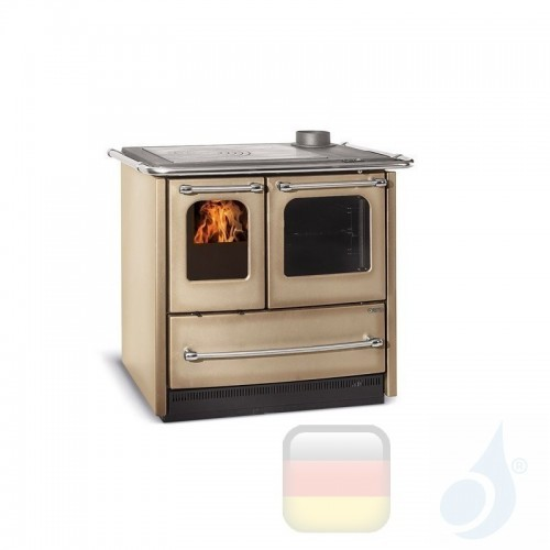 La Nordica Küchenofen Sovrana Easy Evo 9.0 kW Stahl Cappuccino serie Scheitholzherd 7014513 A Extraflame Nord-Extra-7014513