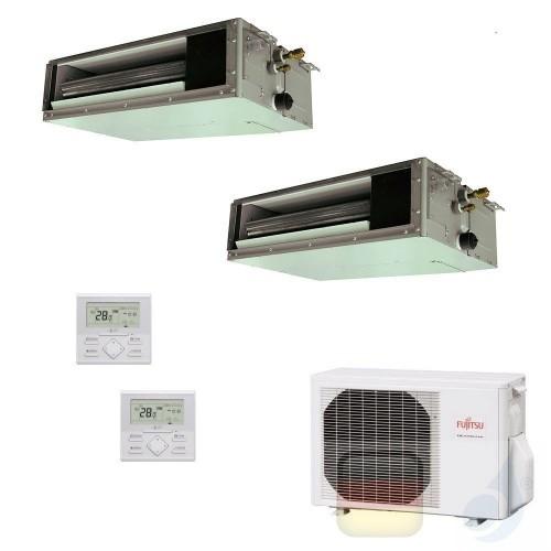 Fujitsu Klimaanlagen Duo Split 12000+15000 Btu Kanaleinbaugeräte Serie KS Mini ARXG12KSLAP+ ARXG14KSLAP+ AOYG18KBTA2 R-32 12+...