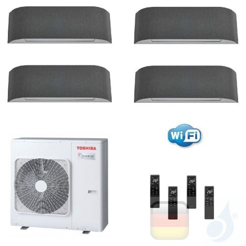 Toshiba Klimaanlagen Quadri Wand 9000+9000+12000+12000 Btu + RAS-4M27U2AVG-E R-32 Haori A+ A+ 2.5+2.5+3.5+3.5 kW KVRG_9+9+12+...