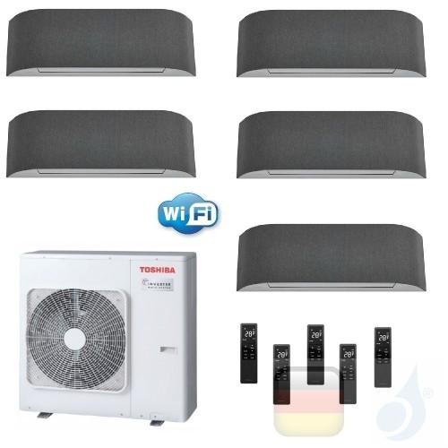 Toshiba Klimaanlagen Penta Split Wand 9+9+9+9+12 Btu + RAS-5M34U2AVG-E R-32 Haori A++ A+ 2.5+2.5+2.5+2.5+3.5 kW KVRG_9+9+9+9+...