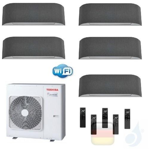 Toshiba Klimaanlagen Penta Split Wand 12+12+12+12+12 Btu + RAS-5M34U2AVG-E R-32 Haori A++ A+ 3.5+3.5+3.5+3.5+3.5 kW KVRG_12+1...