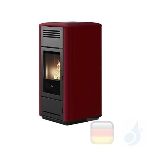 Edilkamin Hydro Pelletofen Milla H 15 15.3 kW Ausschaltbares Warmluftgebläse Bordeaux Beschichtungstyp keramic A++ EdilK-809110