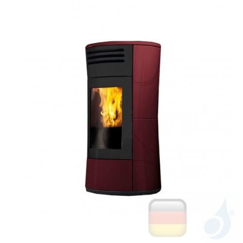 Edilkamin Hydro Pelletofen Cherie Up H 16.2 kW Ausschaltbares Warmluftgebläse Bordeaux Beschichtungstyp keramic A+ EdilK-805800