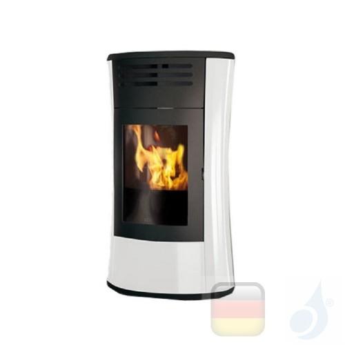 Edilkamin Hydro Pelletofen Cherie Up H 16.2 kW Ausschaltbares Warmluftgebläse Weiß Beschichtungstyp glass A+ EdilK-805820