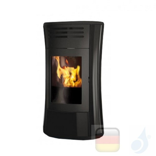 Edilkamin Hydro Pelletofen Cherie Up H 16.2 kW Ausschaltbares Warmluftgebläse Schwarz Beschichtungstyp glass A+ EdilK-805830