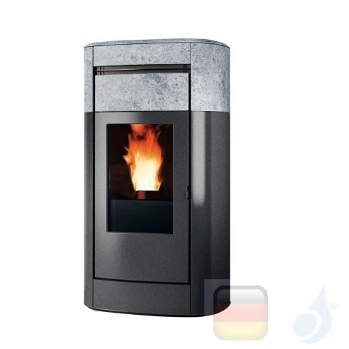 Edilkamin Hydro Pelletofen Vyda H 18 18.7 kW Ausschaltbares Warmluftgebläse Stein Beschichtungstyp naturstein A++ EdilK-805210