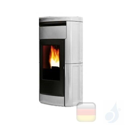 Edilkamin Hydro Pelletofen Kyra H 18 18.7 kW Ausschaltbares Warmluftgebläse Weiß Beschichtungstyp keramic A++ EdilK-801530