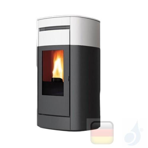 Edilkamin Hydro Pelletofen Vyda H 22 Ekleaner 22.5 kW Ausschaltbares Warmluftgebläse Weiß Beschichtungstyp keramic A++ EdilK-...