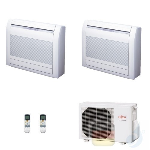 Fujitsu Duo Split 9+9 Fußboden AGYG09KVCA AGYG09KVCA AOYG14KBTA2 Klimaanlage KV R-32 9000+9000 Btu 2.5+2.5 kW AGXG-KVCA-9+9+A...