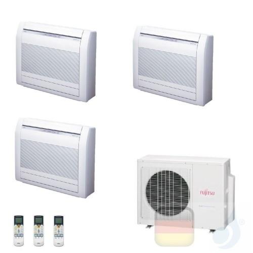 Fujitsu Trio Split 9+9+12 Fußboden AOYG24KBTA3 AGYG09KVCA AGYG09KVCA AGYG12KVCA Klimaanlage R-32 2.5+2.5+3.5 kW AGXG-KVCA-9+9...